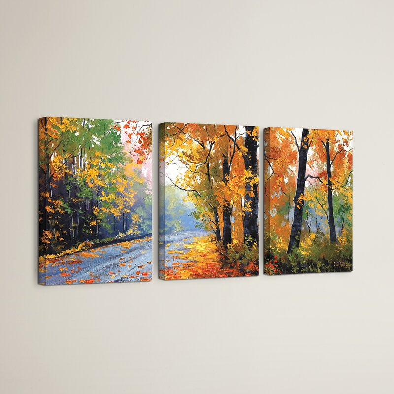 Red Barrel Studio Autumn Backlight 3 Piece Painting Print On Wrapped Canvas Set Wayfair