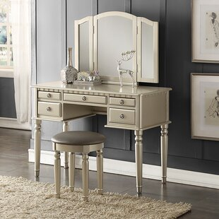 Lighted bedroom vanity sets wayfair absher vanity set aloadofball Gallery