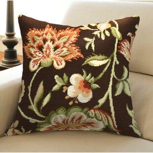 Jacobean Floral Needlepoint Wool Throw Pillow