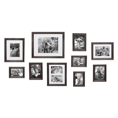 Three Posts Teen Kate and Laurel Bordeaux Gallery Wall Kit, Set of 10 with Assorted Size Frames in 3 Different Finishes - White Wash, Charcoal Grey, a