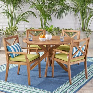 Mabie Outdoor 5 Piece Dining Set with Cushions ByBungalow Rose
