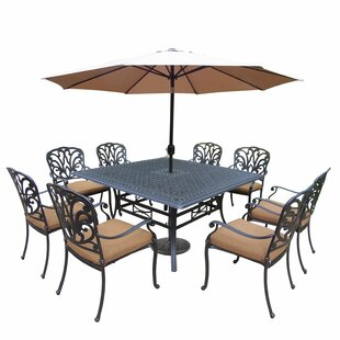 Darby Home Co Bosch 9 Piece Dining Set with Cushions and Umbrella