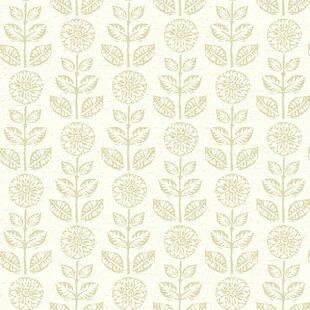 dolly dark brown folk floral wallpaper