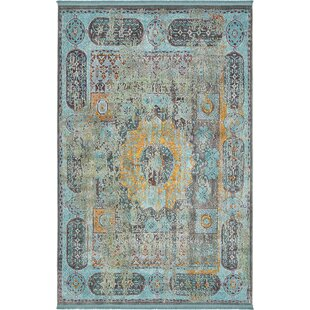 Online Reviews Lonerock Blue/Yellow Area Rug By Bungalow Rose