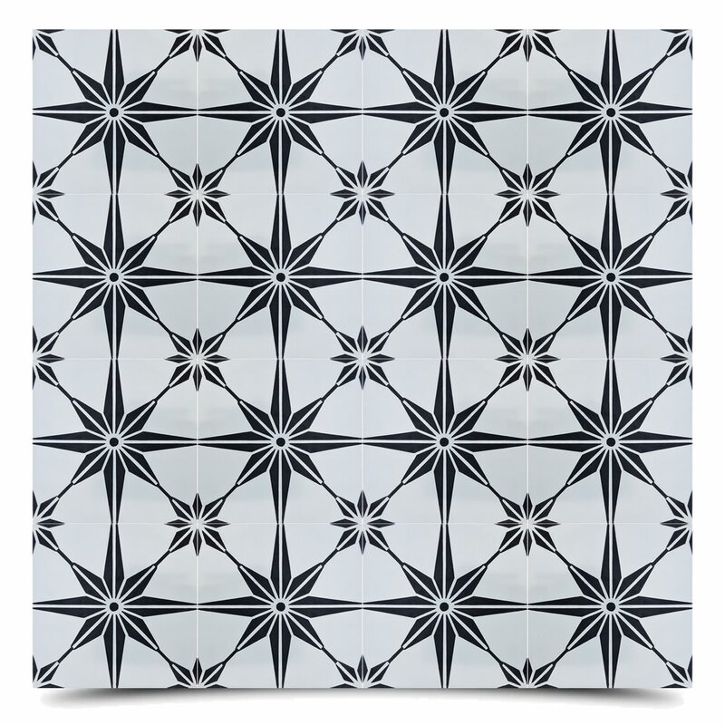 "Tafilalt 8"" x 8"" Cement Field Tile in Black/Gray"