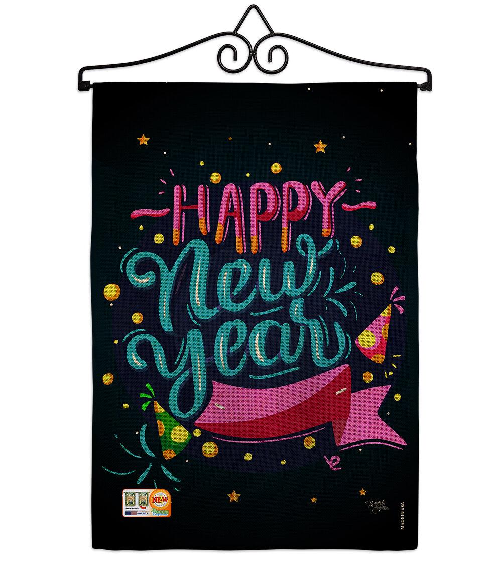 Breeze Decor Popping Happy New Year 2 Sided Burlap 19 X 13 In Garden Flag Wayfair