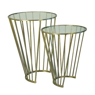 Everly Quinn Valery 2 Piece Metal End Table Set
