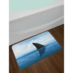 Shark Gray Violet and Pale Blue Shark Bath Rug