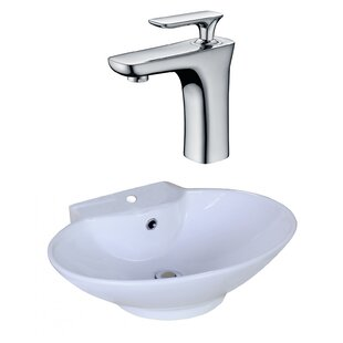 Savings Ceramic Oval Vessel Bathroom Sink with Faucet and Overflow ByAmerican Imaginations