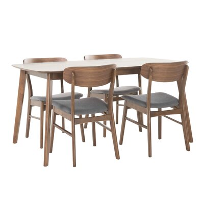 Brayden Studio Ado 5 Piece Solid Wood Dining Set Table Color: Natural Walnut, Chair Finish: Light Beige