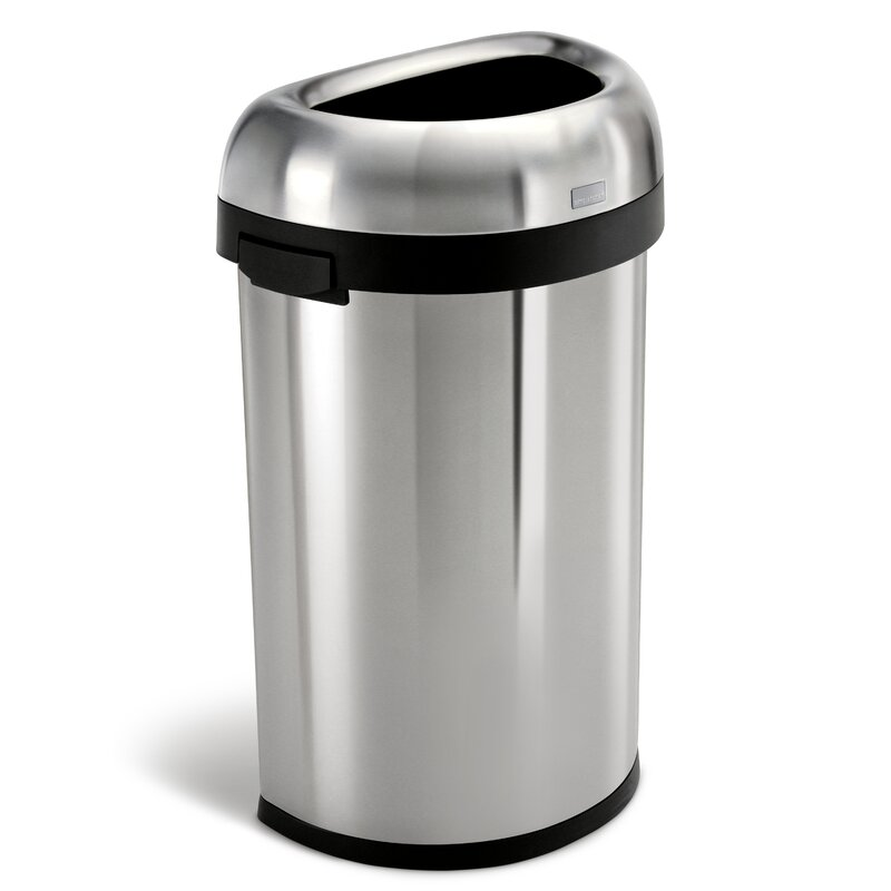 Simplehuman 16 Gallon Semi Round Open Trash Can Heavy