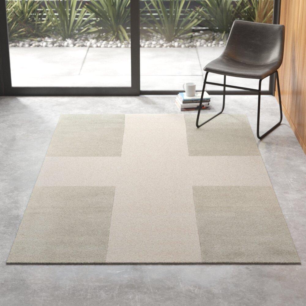 Delmar Geometric Handmade Tufted Wool Gray Beige Area Rug Reviews Allmodern