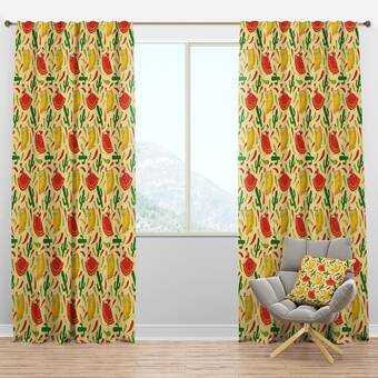 Designart Mid Century Tropical Leaves Floral Semi Sheer Thermal Rod Pocket Single Curtain Panel Wayfair