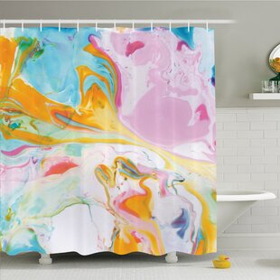 Psychedelic Digital Interlace Wavy Formless Splashes Contemporary Illustration Shower Curtain Set