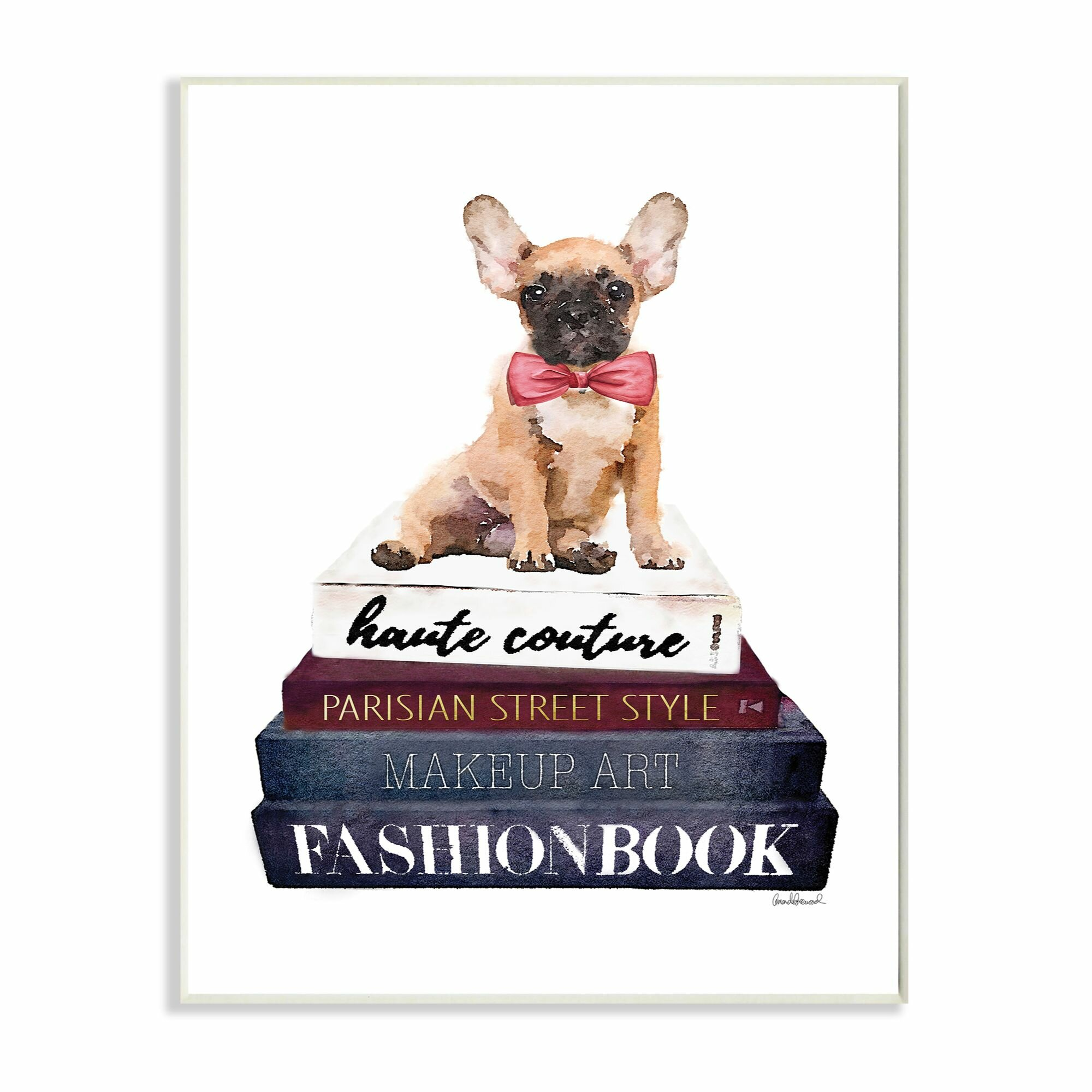 Stupell Industries Fashion Designer Pet Dog Bookstack Blue Red Graphic Art Wayfair