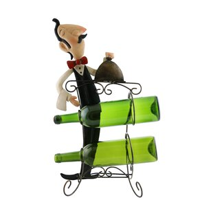 Wine Bodies Mari Sophiscated Waiter Holding Tray of Food 2 Bottle Tabletop Wine Rack