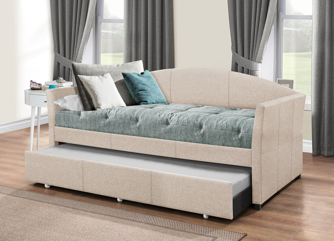 Upholstered Daybed andover mills alvina upholstered daybed with trundle & reviews