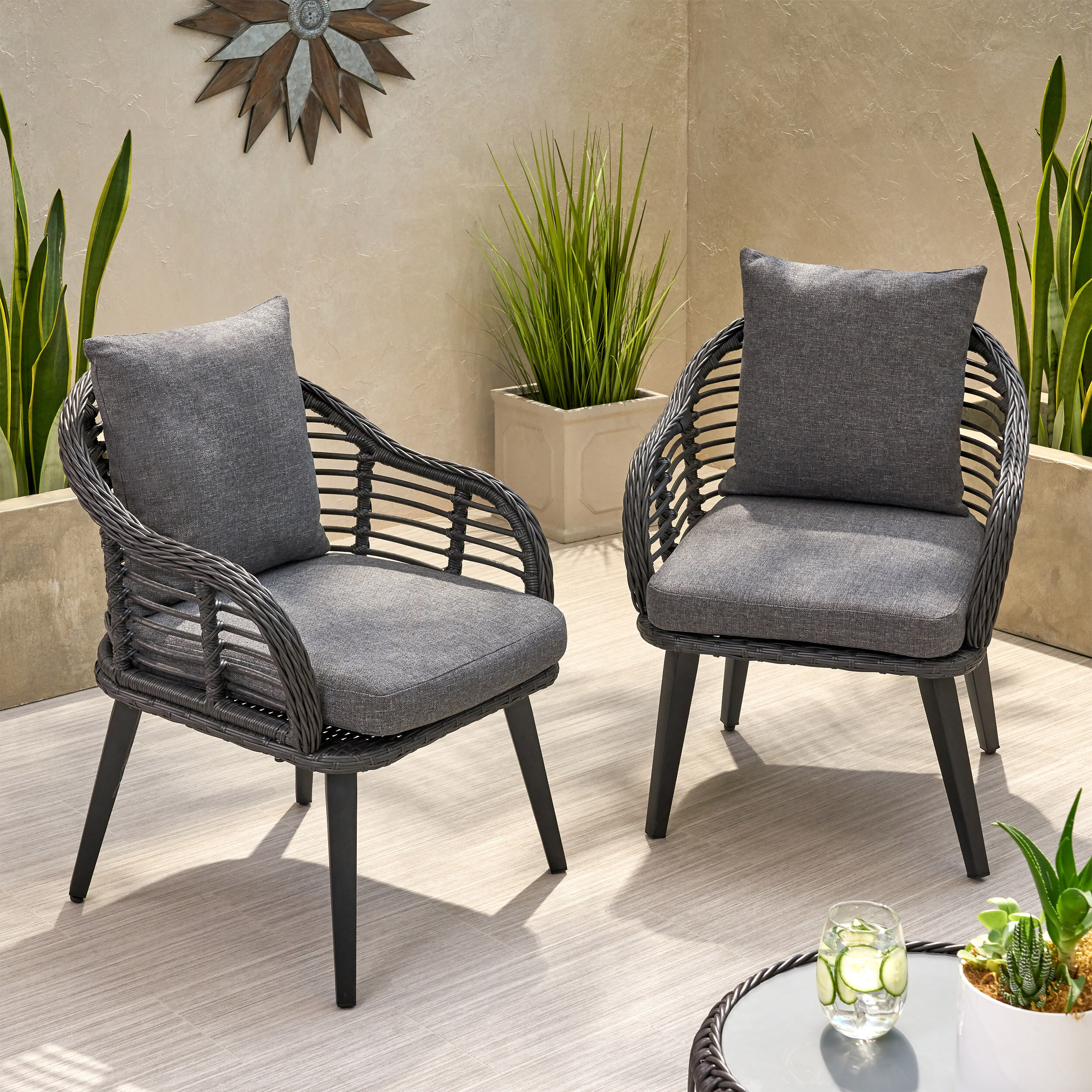 Aarhus Wicker Patio Chair with Cushions