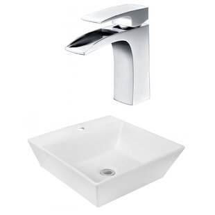 Affordable Ceramic Square Vessel Bathroom Sink with Faucet ByRoyal Purple Bath Kitchen