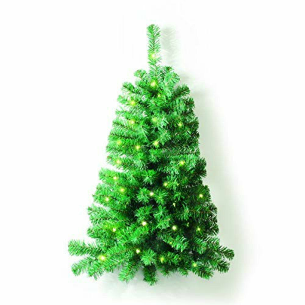 Wall Mounted 3 Ft Green Artificial Christmas Tree With 50 Clear White Light