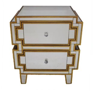 Holbrook Mirrored 2 Drawer Nightstand