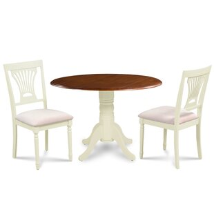 Koenig 3 Piece Drop Leaf Solid Wood Dining Set