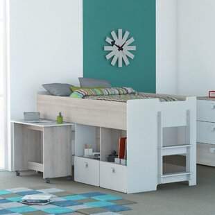 Boles Single Mid Sleeper Bed With Bookcase And Desk By Isabelle & Max