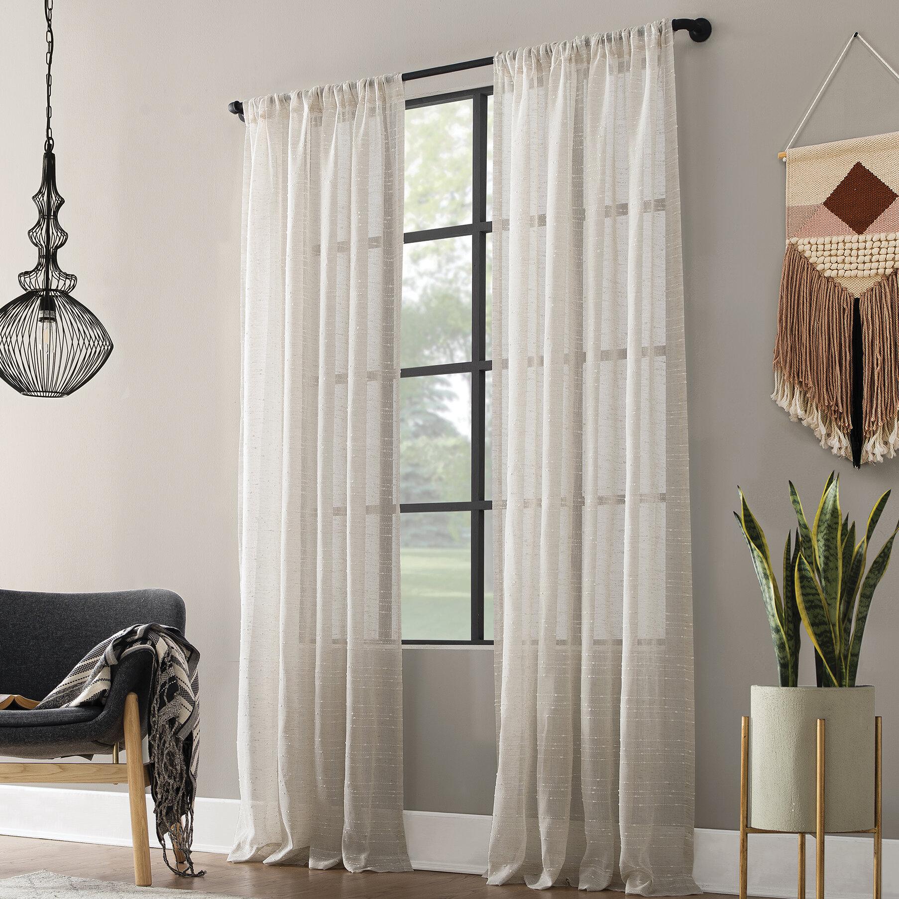 Textured Slub Anti Dust Striped Semi Sheer Rod Pocket Single Curtain Panel Reviews Allmodern