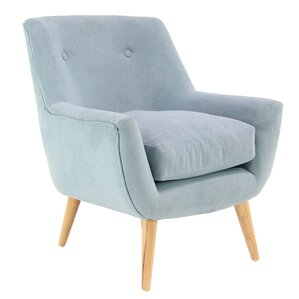 Veach Modern Wood and Fabric Tufted Armchair by George Oliver