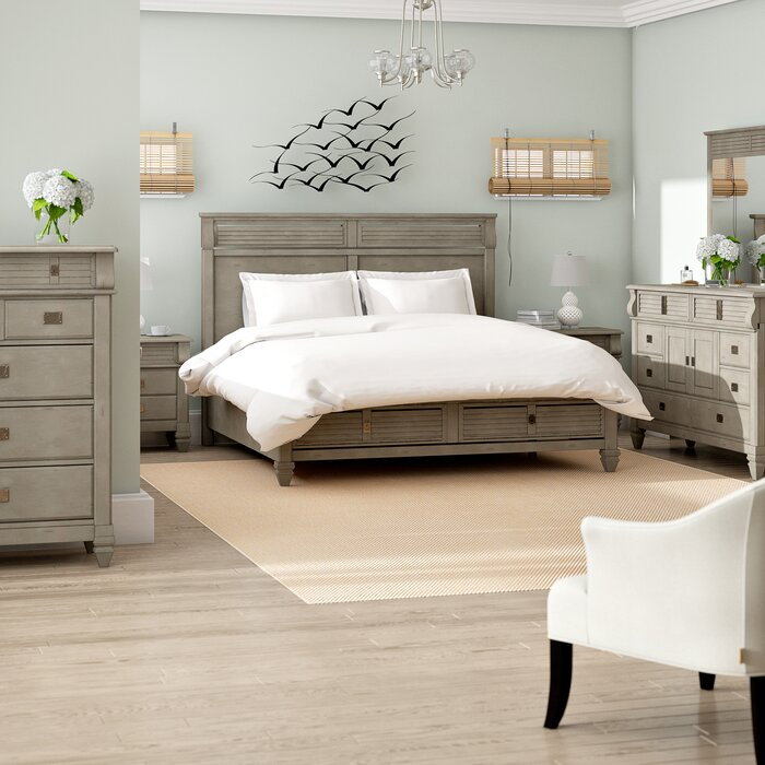 Vasilikos Solid Wood Construction Platform 6 Piece Bedroom Set