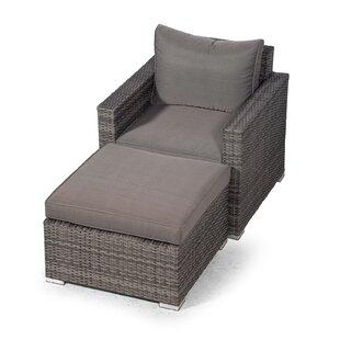 Villatoro Grey Rattan Armchair & Ottoman, Outdoor Patio Garden Furniture Image