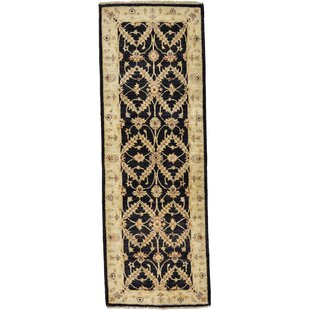 Reviews One-of-a-Kind Huntingdon Hand-Knotted Runner 1'9 x 5'1 Wool Black/Beige Area Rug By Isabelline