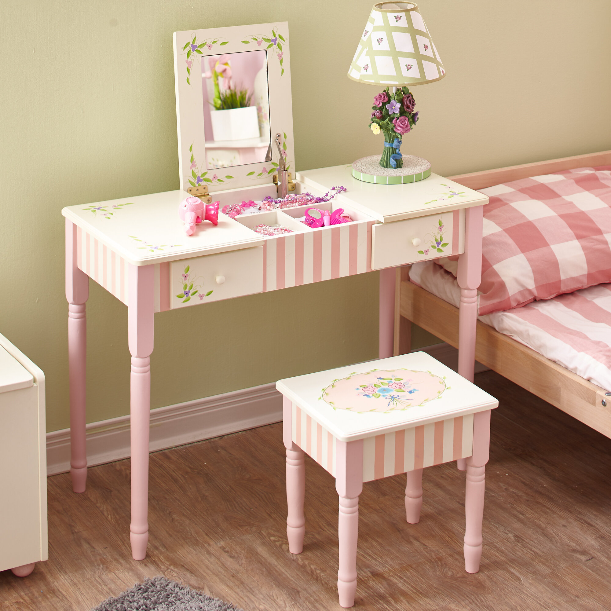 Enjoyable Bouquet Vanity Table Stool Set Gmtry Best Dining Table And Chair Ideas Images Gmtryco