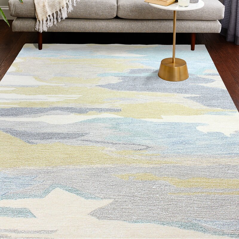Ivy Bronx Jared Beige/Blue/Gold Area Rug, Size: Rectangle 86 x 116