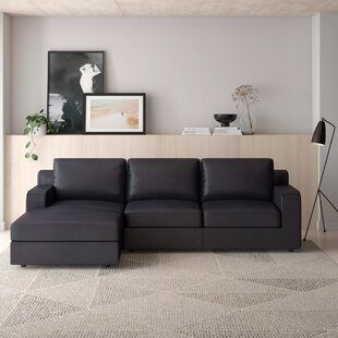 Becker Leather Sleeper Sectional by AllModern