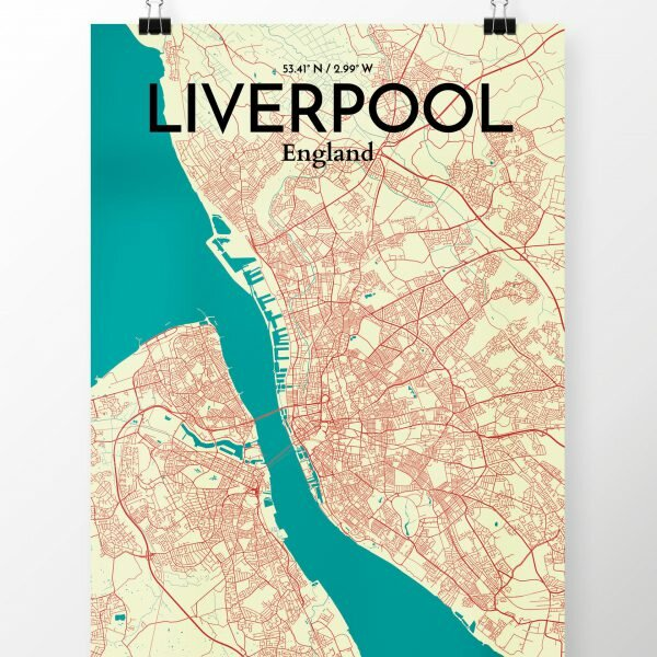 Map Of England Poster.Liverpool City Map Graphic Art Print Poster In Tricolor