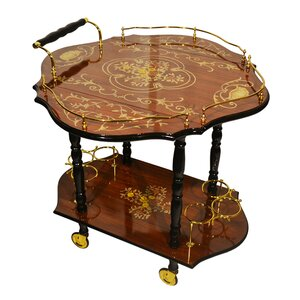 Poole Inspired Inlaid Wood Burl Toned Beverage Bar Cart