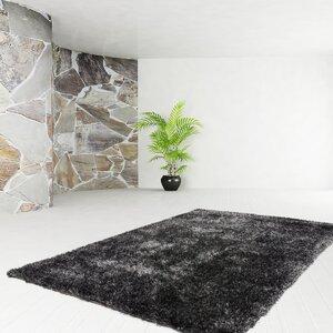 Handgefertigter Teppich Premium Shaggy in Anthrazit