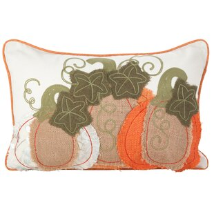 Weitzman Embroidered Pumpkin Autumn Fall Harvest Lumbar Pillow