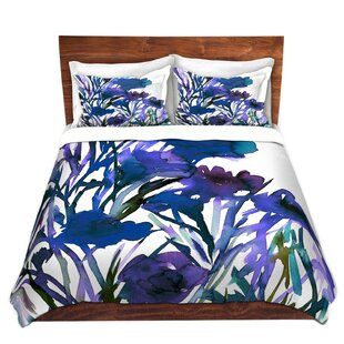 DiaNoche Designs Petal Thoughts Blue Duvet Cover Set
