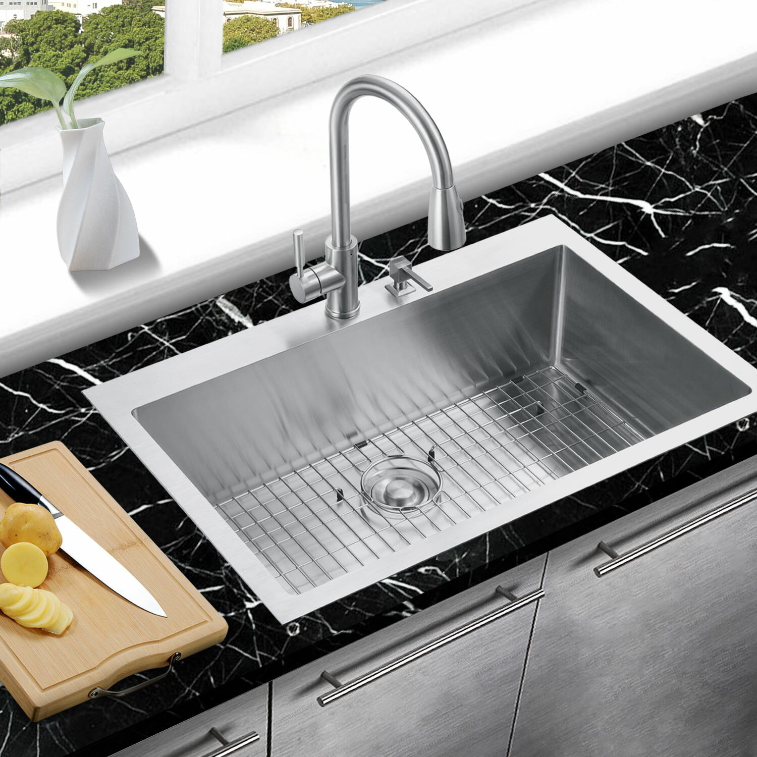 Handmade 33 L X 22 W Drop In Kitchen Sink With Sink Grid And Drain Assembly