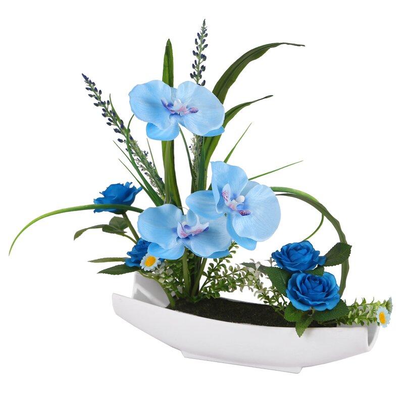 floral home decor orchid floral design wayfair.htm ebern designs orchid floral arrangement in pot   reviews wayfair  ebern designs orchid floral arrangement