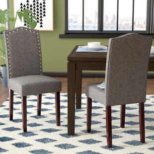 Lepore Upholstered Nailhead Parsons Chair (Set of 2) & Grey Nailhead Chair | Wayfair