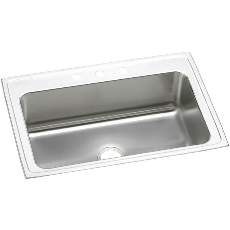 Elkay Lustertone Satin 33 L X 22 W Drop In Kitchen Sink Wayfair