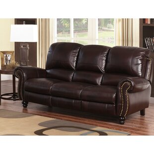 Tanguay Leather Reclining Sofa by Williston Forge