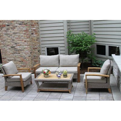 Dillard Teak And Wicker 4 Piece Deep Seating Group With Cushion