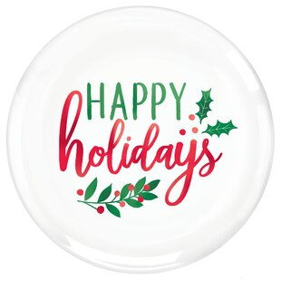 Christmas Happy Holiday Plastic Disposable Appetizer Plate (Set of 20)