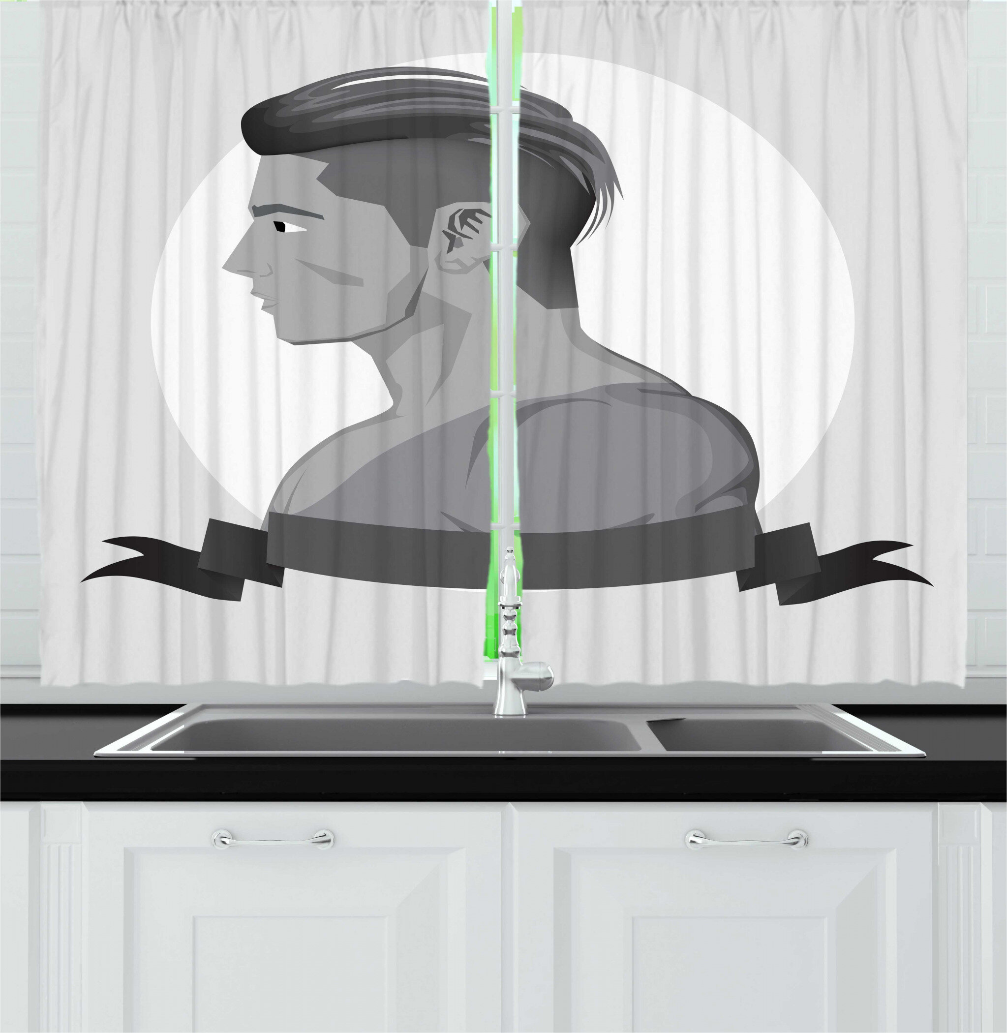 East Urban Home 2 Piece Young Man Greyscale Design Hipster Beardless Teen Boy Side Portrait Illustration Kitchen Curtain Set