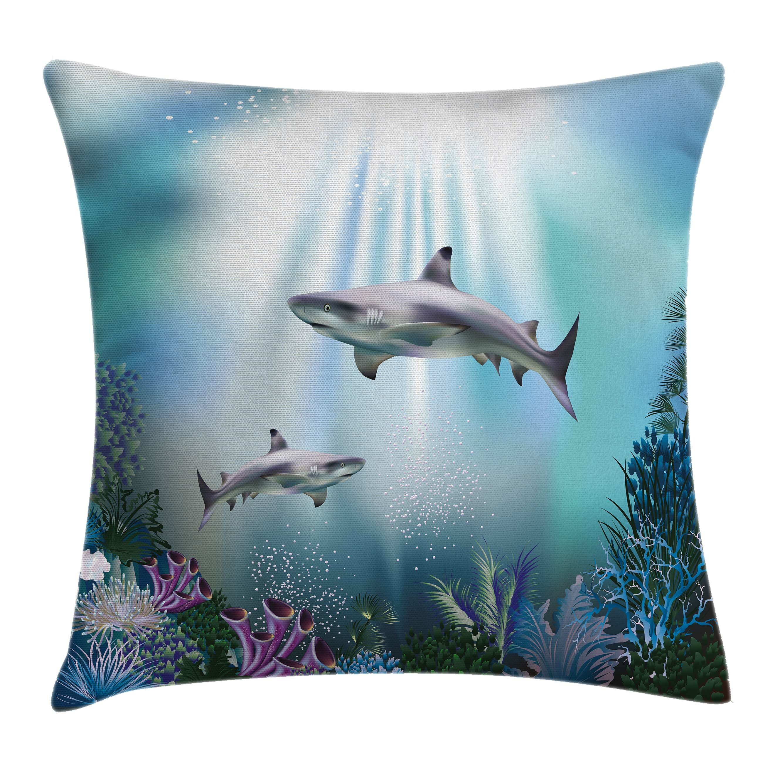 20b8aa53f05d Ambesonne Underwater Sharks Coral Aquatic Pillow Cover
