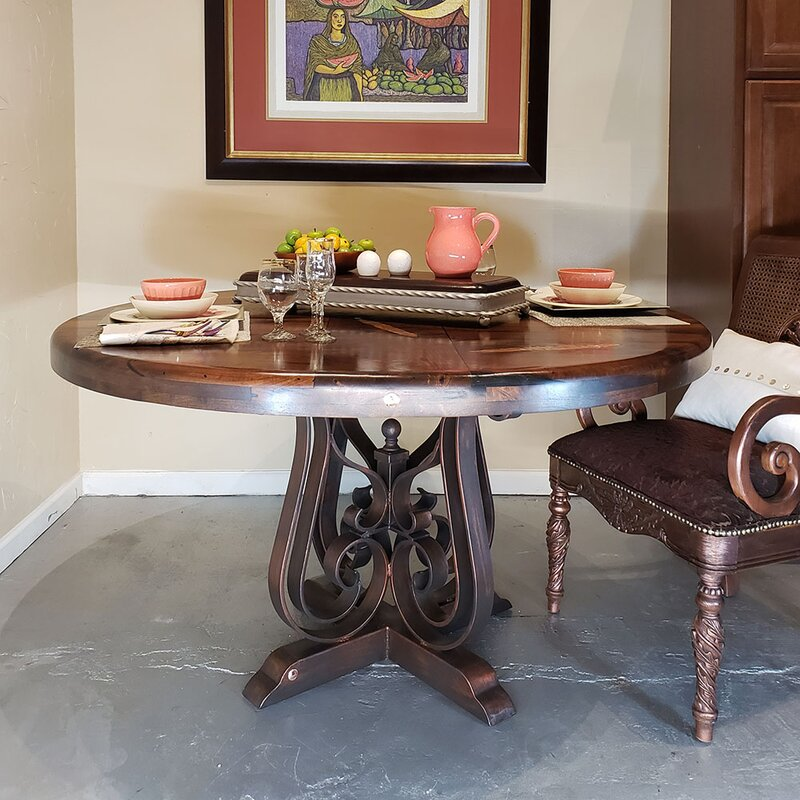 Mexports By Susana Molina Luxurious Dining Table With A Round Mesquite Wood Top Embellished With Unique Copper Inlay Wayfair